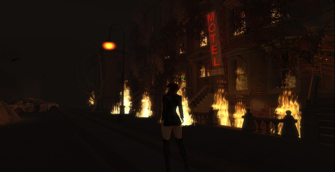 Burning hotel